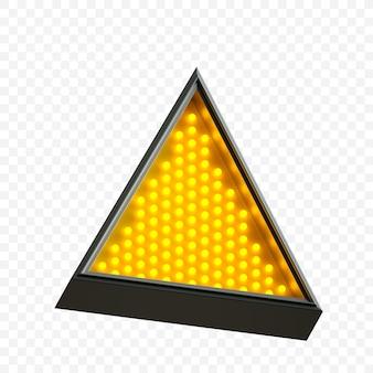 Forme triangulaire au néon lumineux avec lumière jaune fluorescente isolée