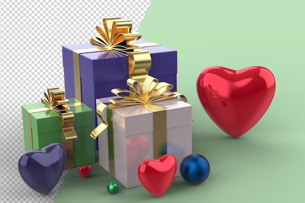 Formes de coeur 3d et maquette de coffret cadeau avec isolé