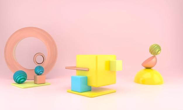 Formes géométriques abstraites de l'affichage du produit avec un rendu 3d de concept minimal et moderne