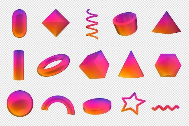 Formes géométriques rendu 3d formes colorées