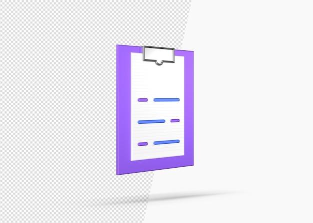 Formulaire d'inscription médicale réaliste isolé icône 3d