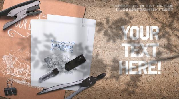 Fournitures de bureau de maquette de papeterie sur la sciure
