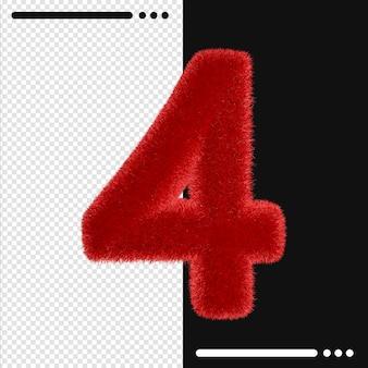 Fourrure et numéro 4 rendu 3d isolé