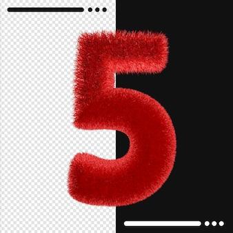 Fourrure et numéro 5 rendu 3d isolé