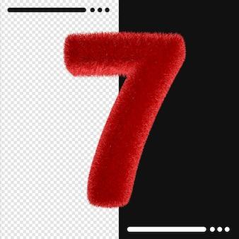 Fourrure et numéro 7 rendu 3d isolé