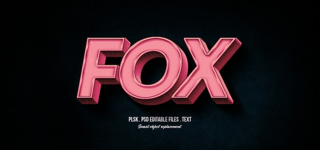 Fox 3d maquette d'effet de style de texte