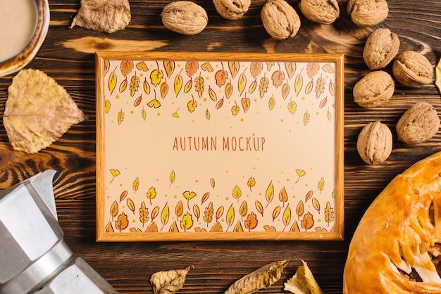 Frame maquette avec le concept d'automne