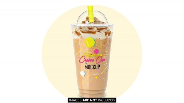 Frappuccino coupe en plastique avec pipe psd maquette