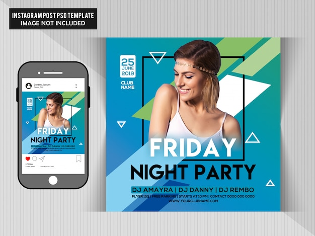 Friday night party flyer pour instagram
