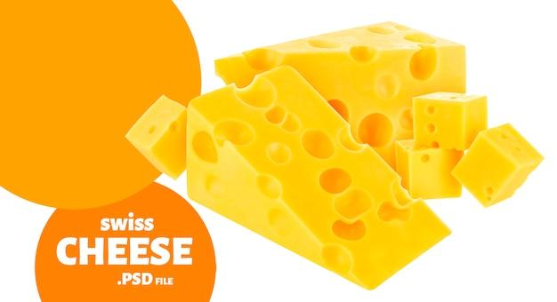 Fromage emmental suisse isolé sur mur blanc