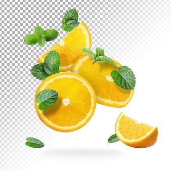 Fruits frais d'oranges en tranches isolés
