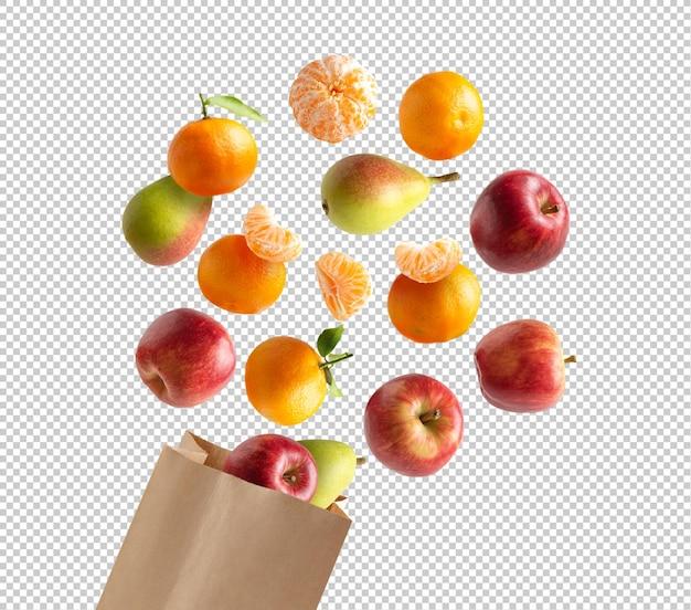Fruits volant dans un sac en papier recyclable
