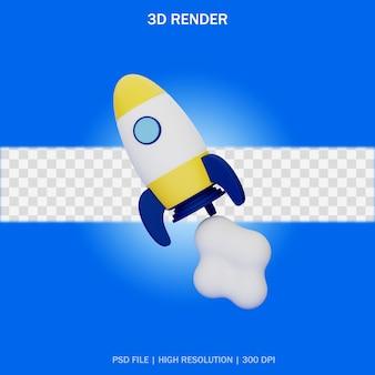 Fusée en vol avec fond transparent en design 3d