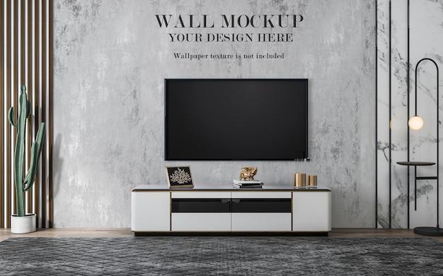 Gabarit mural derrière un grand téléviseur