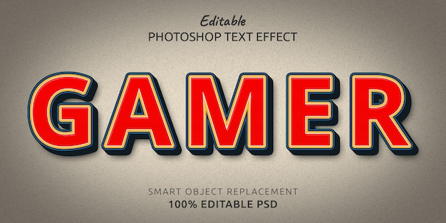 Gamer modifiable psd text style effect