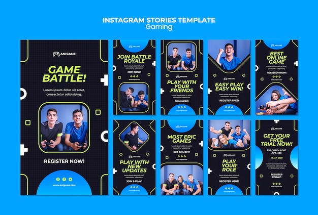 Gaming concept instagram stories