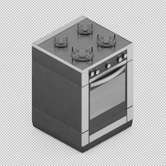 Gamme de cuisine isométrique rendu 3d