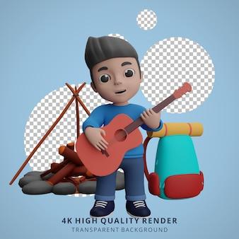 Garçon camping mascotte personnage 3d illustration jouant de la guitare