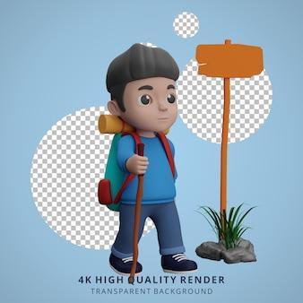 Garçon camping mascotte personnage 3d illustration marche