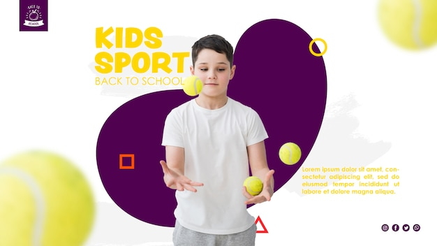 Garçon jonglant avec des balles de tennis