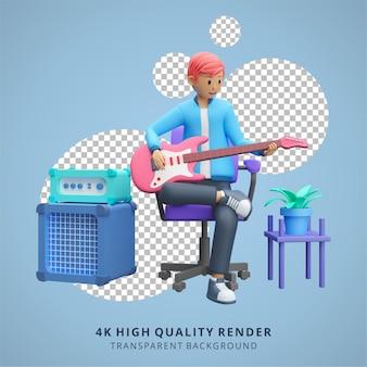 Garçon jouant de la guitare électrique rester à la maison illustration rendu 3d de haute qualité