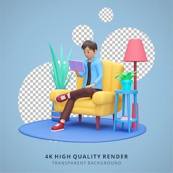 Garçon lisant sur tablette rester à la maison illustration rendu 3d de haute qualité