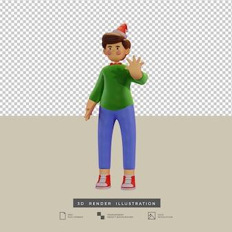 Garçon de noël mignon style argile avec illustration 3d de geste de salutation