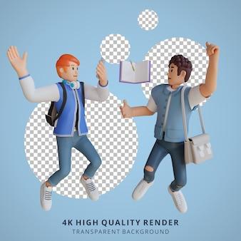 Garçon retour à l'école mascotte personnage 3d illustration heureux