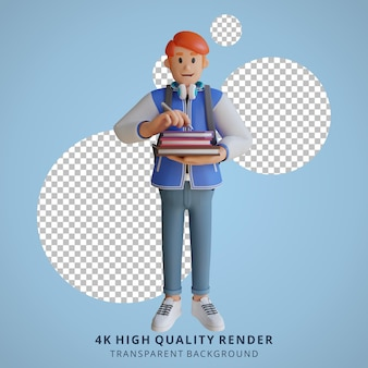 Garçon retour à l'école mascotte personnage 3d illustration tenant un livre