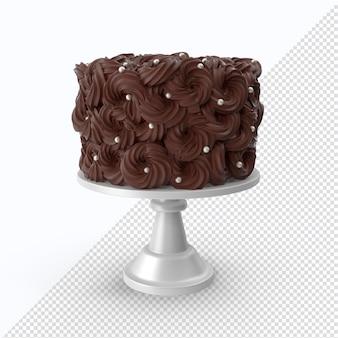 Gâteau au chocolat saint valentin isolé