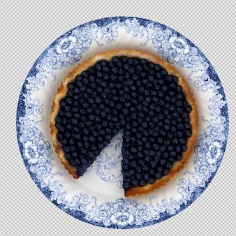 Gâteau aux bleuets rendu 3d isolé