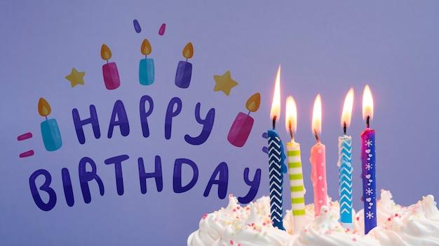 Gâteau aux bougies allumées maquette