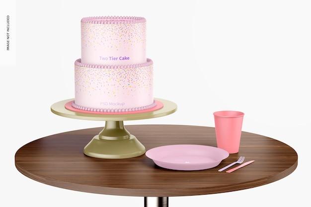 Gâteau à deux niveaux sur une maquette de table