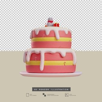 Gâteau rose de noël de style argile avec poupée bonhomme de neige et boîte-cadeau illustration 3d