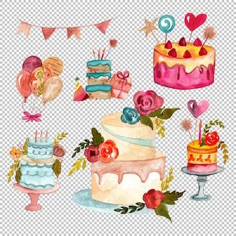 Gâteaux d'anniversaire de peinture à la main dans la collection d'aquarelles