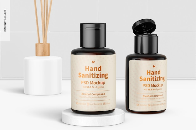 Gels désinfectants pour les mains portables avec maquette d'étiquette