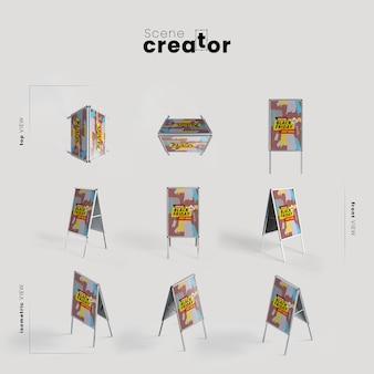 Gens arrêtent différents angles pour des illustrations de créateurs de scènes