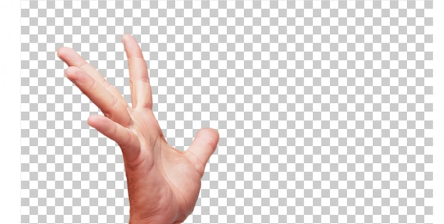 Geste de main mâle isolé