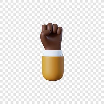 Geste de poing main homme d'affaires afro-américain de dessin animé