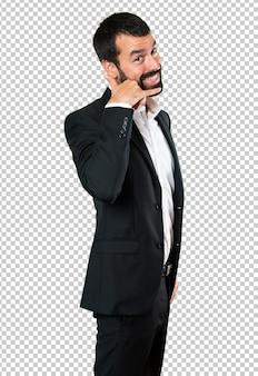 Geste de téléphone faisant beau homme d'affaires