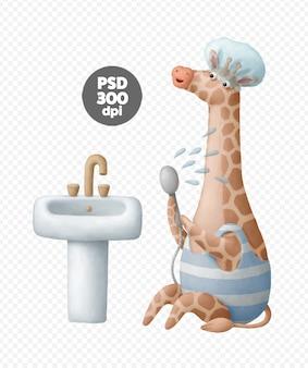 Girafe, prendre, douche, numérique, illustration