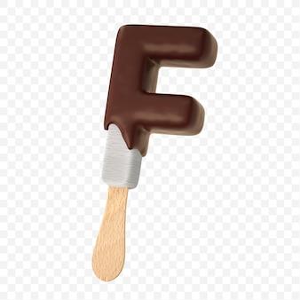 Glace à la vanille fondue avec lettre de l'alphabet au chocolat au lait noir f design isolé