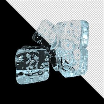 Glaçons sur fond transparent rendu 3d