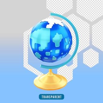 Globe d'icône de rendu 3d
