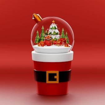 Globe de noël sur une tasse de santa sur fond rouge, illustration 3d