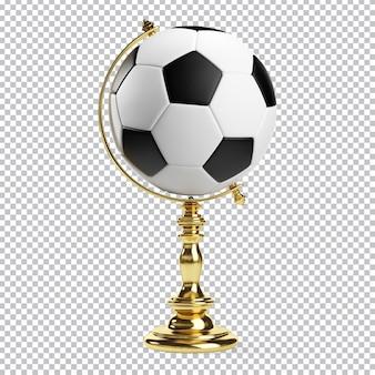 Globe sous la forme d'un ballon de football rendu 3d isolé