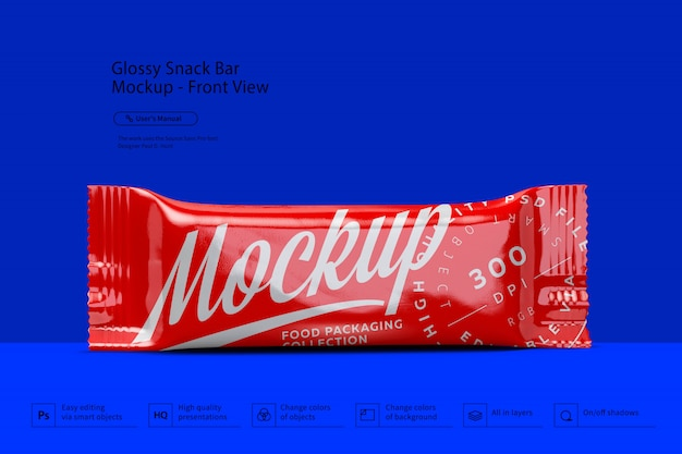 Glossy snack bar mockup front view
