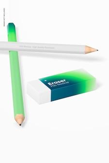 Gomme avec maquette de crayons