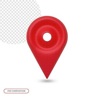 Goupille de carte d'icône emplacement 3d réaliste isolé