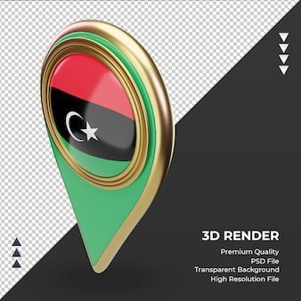 La goupille d'emplacement 3d du drapeau de la libye rend la vue de droite